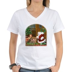 Praying Santa Women's V-Neck T-Shirt
