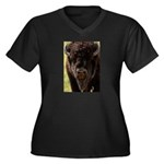 Stand Down Bison Women's Plus Size V-Neck Dark T-