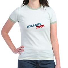 """Hillary 2008"" Red and Blue Jr. Ringer T-Shirt"