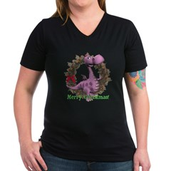 Dusty Dragon Women's V-Neck Dark T-Shirt