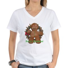 Gingerbread Man Women's V-Neck T-Shirt