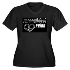 Unconvicted Felon Women's Plus Size V-Neck Dark T-