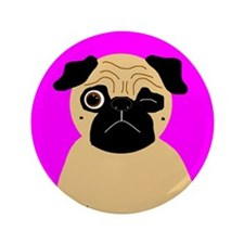 "Wink, the Pug 3.5"" Button"