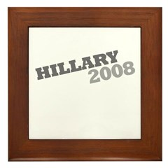 """Hillary 2008"" Grey Framed Tile"