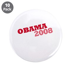 """Obama 2008"" Red 3.5"" Button (10 pack)"