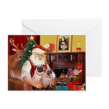 Santa's fawn Pug pair Greeting Card