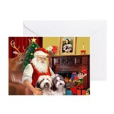 Santa's Beardie pair Greeting Cards (Pk of 20)