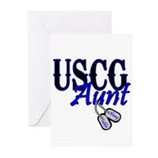 USCG Dog Tag Aunt Greeting Cards (Pk of 20)