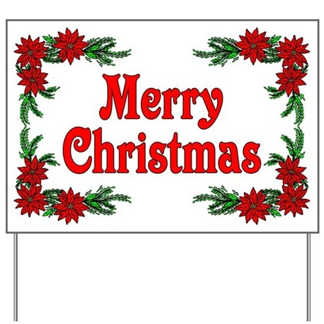 Poinsettia merry christmas yard sign by woodsyend for Outdoor christmas signs