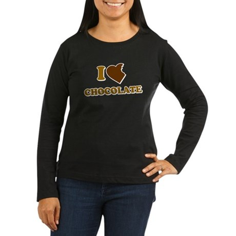 I Love [Heart] Chocolate Womens Long Sleeve Dark