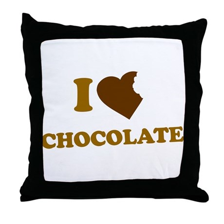 I Love [Heart] Chocolate Throw Pillow