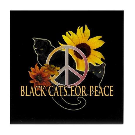 Black Cats for Peace Tile Coaster