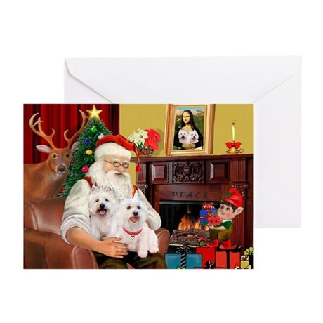 Santa/2 West Highland Greeting Cards (Pk of 10)