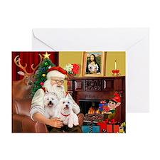 Santa/2 West Highland Greeting Card