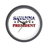 SAVANNA for president Wall Clock