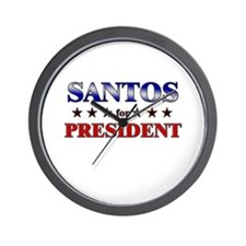 SANTOS for president Wall Clock