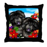 BLACK CHOW CHOW DOGS FLOWERS Throw Pillow