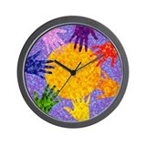 Rainbow Hands Wall Clock