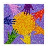 Rainbow Hands Tile Coaster