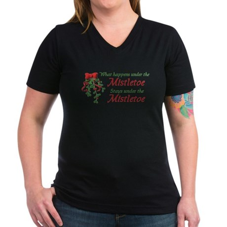 Under the Mistletoe Women's V-Neck Dark T-Shirt