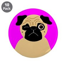 "Wink, the Pug 3.5"" Button (10 pack)"