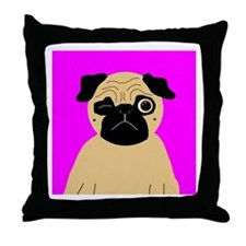 Wink, the Pug Throw Pillow