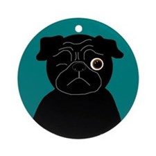 Wink, the Pug Ornament (Round)