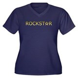 ROCKSTAR Women's Plus Size V-Neck Dark T-Shirt