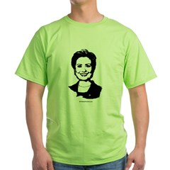 Hillary Clinton Face Green T-Shirt