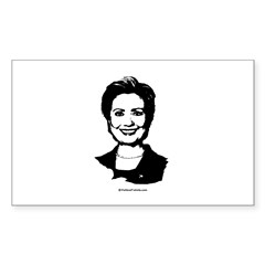 Hillary Clinton Face Rectangle Sticker