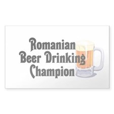 Romanian Beer Drinking Champ Rectangle Decal