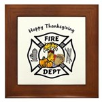 Thanksgiving Firefighter Framed Tile