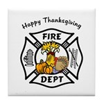 Thanksgiving Firefighter Tile Coaster