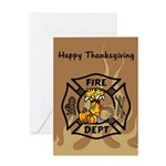 Thanksgiving Firefighter Greeting Card