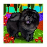 BLACK CHOW CHOW DOG RIVER Tile Coaster