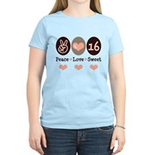 Peace Love Sweet Sixteen 16th Birthday T-shirt