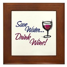 Save Water Drink Wine Framed Tile