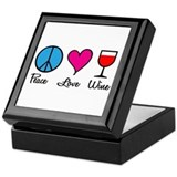 Peace Love Wine Tile Box