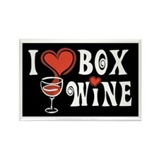 I Heart Box Wine Rectangle Magnet