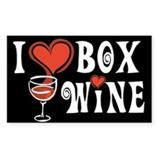 I Heart Box Wine Rectangle Decal