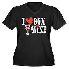 I Heart Box Wine Women's Plus Size V-Neck Dark T-S