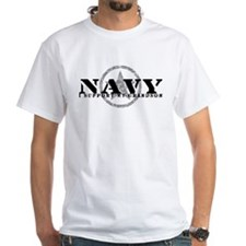 Navy - I Support My Grandson White T-shirt
