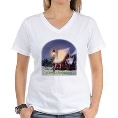 Snowy Cabin Women's V-Neck T-Shirt