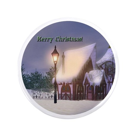 "Snowy Cabin 3.5"" Button"