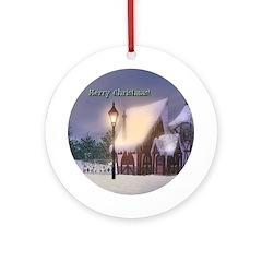 Snowy Cabin Ornament (Round)