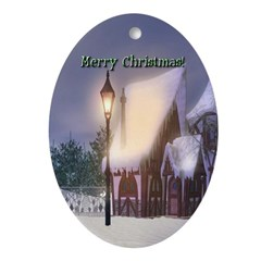 Snowy Cabin Oval Ornament