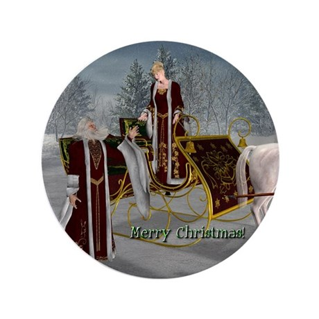 "Mr 'N Mrs Claus 3.5"" Button"