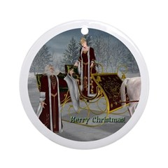 Mr 'N Mrs Claus Ornament (Round)