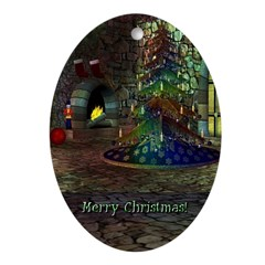 I Love Christmas Oval Ornament