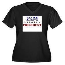 PAM for president Women's Plus Size V-Neck Dark T-